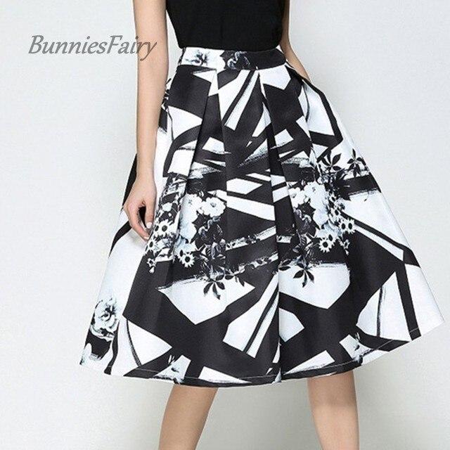 BunniesFairy 2018 Elegant Fashion Geometric Print Skirts for Women High  Waist Long Pleated Skirt For Office f1af91456540