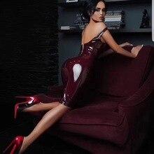Горячая распродажа! Модные Вечерние Платья из искусственной кожи с глубоким вырезом и глубоким вырезом