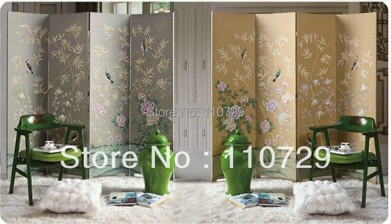 Китайский и западный стиль, расписанный вручную шелковый цветок с птицей для экрана без рамки, много фотографий ручной росписью по желанию