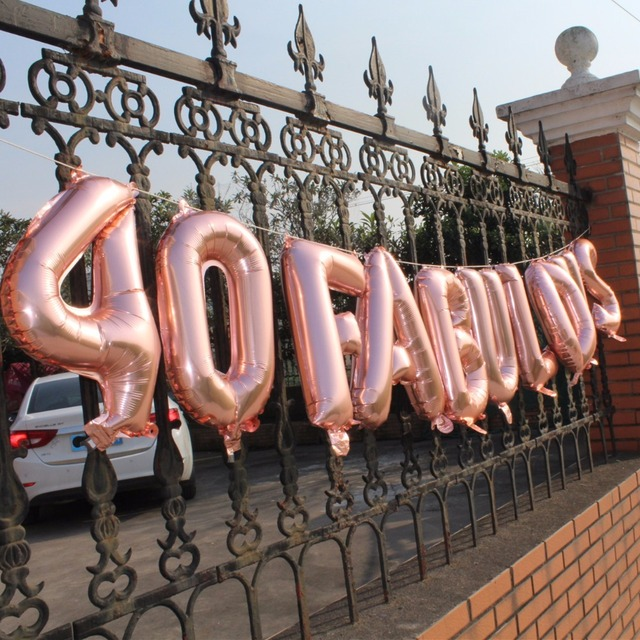Happy Forty 40th Birthday Party Decoration 40 And Fabulous Banner 50th 60th Rose Gold Balloons Bunting