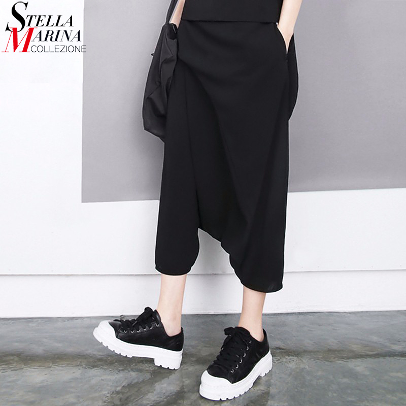 2018 Korea stiilis naised suvel mustad Harem püksid Elastne talje vasika pikkus lahtised Boho tüdrukud tänavapüksid vabaaja risti püksid 1493
