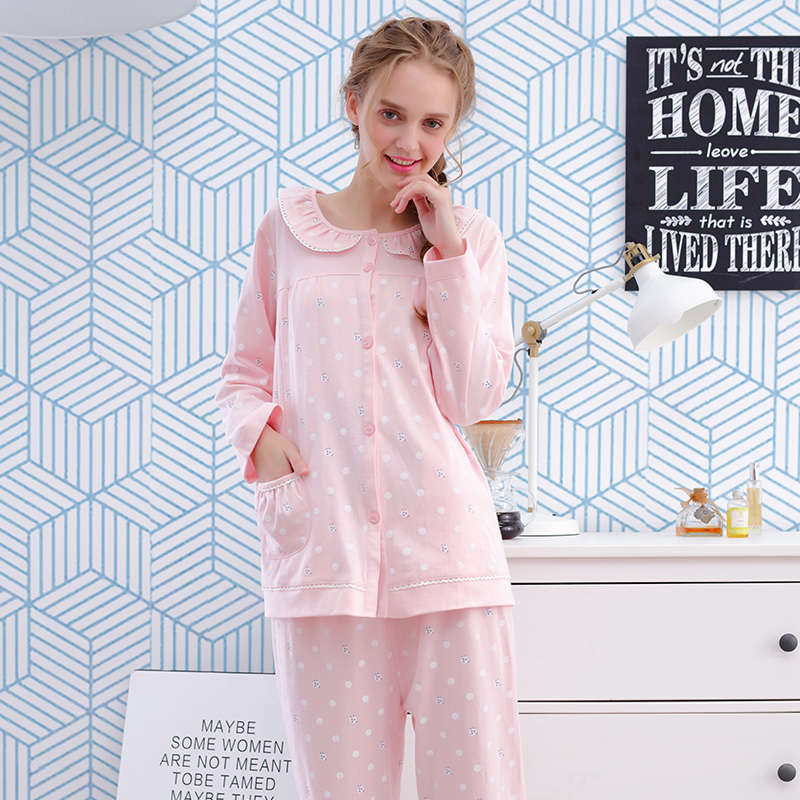 ФОТО spring and summer autumn feeding lactation clothes out of postpartum confinement wear cotton long sleeved  Home Furnishing