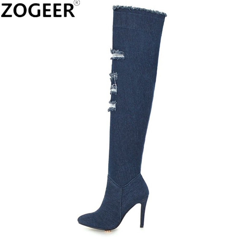 Plus Size 48 Women Over the Knee Boots Blue Denim Thigh High Boots Cut outs Breathable