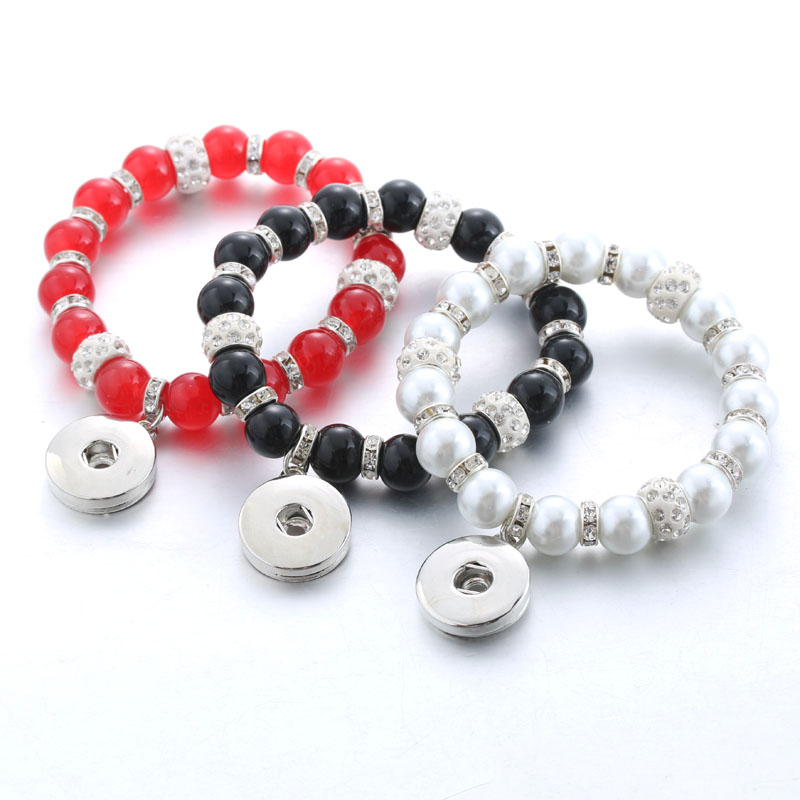 Color Mix Wholesale Snap Jewelry Clay Snap Bracelet Bangle Elasticity Beaded Bracelets for Women 3479