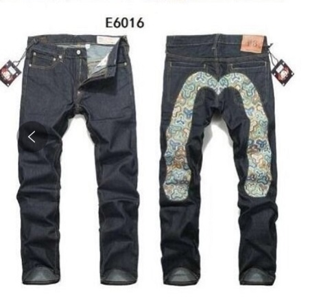 Evisu Breathable Top Quality Trend Fashion Men Pants Warm Jeans Straight Print Leisure Printing Big M Mid Waist Men's Trousers