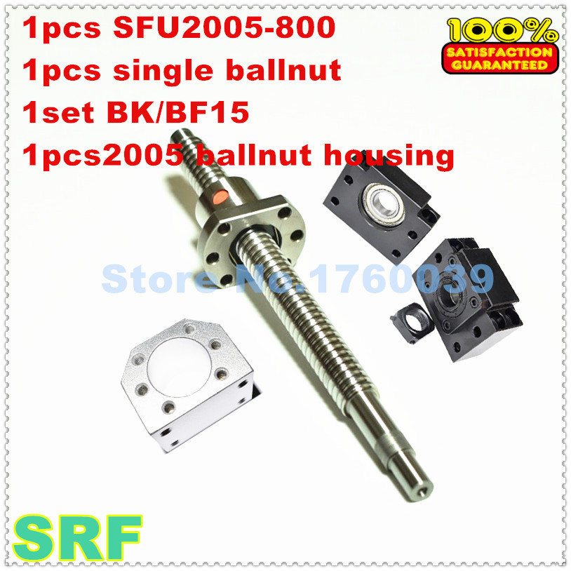 цена 20mm Rolled Ballscrew 2005 set:1pcs SFU2005 L=800mm+1pcs single ballnut+1pcs BK/BF15 end support+1pcs 2005 ballnut housing онлайн в 2017 году