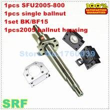20mm Rotolo Ballscrew 2005 set: 1 pz SFU2005 L = 800mm + 1 pz singolo ballnut + 1 pz BK/BF15 fine supporto + 1 pz 2005 ballnut housing