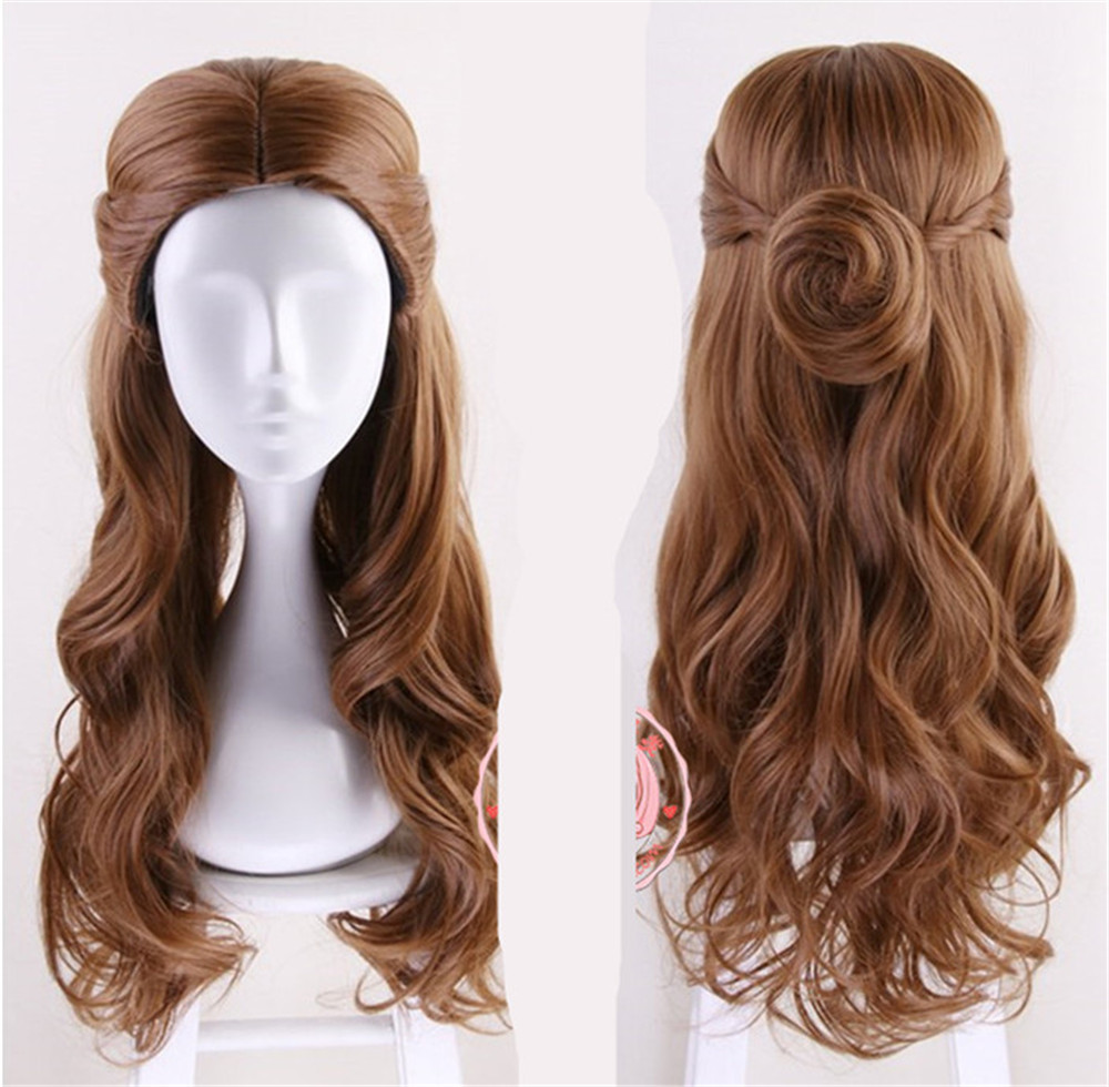 Movie Beauty and the Beast Princess Belle Brown Wig Emma Waston Cosplay Wig Gril Role Play Costume  Wig hair