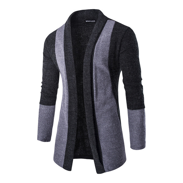 Pull Long Cardigan Homme, col châle, Slim,