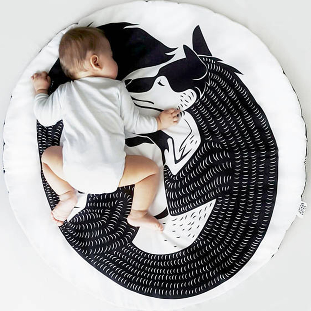Baby Infant Playmats Kids Crawling Carpet Floor Rug Newborn Bedding Cartoon Round Blanket Game Pad Children Room Decor Mat 90CM