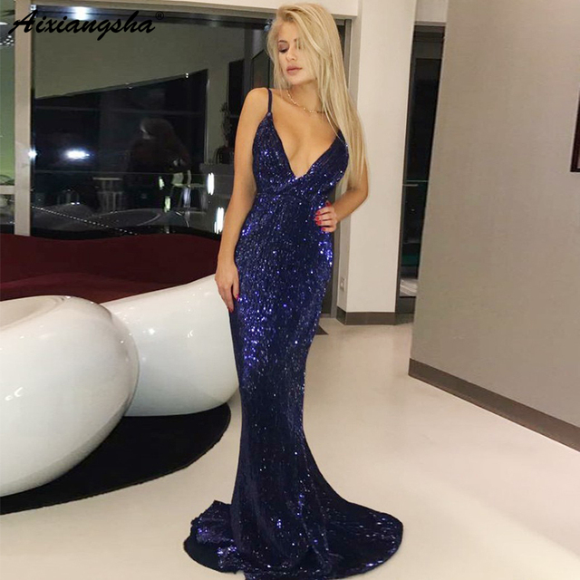 Sparkling Sequin Mermaid Party Long Prom Dresses vestidos largos de fiesta Navy Blue Prom Dress 2019