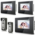 "Wired Video Door Phone Intercom 7""Inch LCD Video Doorbell Camera System 2 Camera 3 Monitor For Apartment House Office"