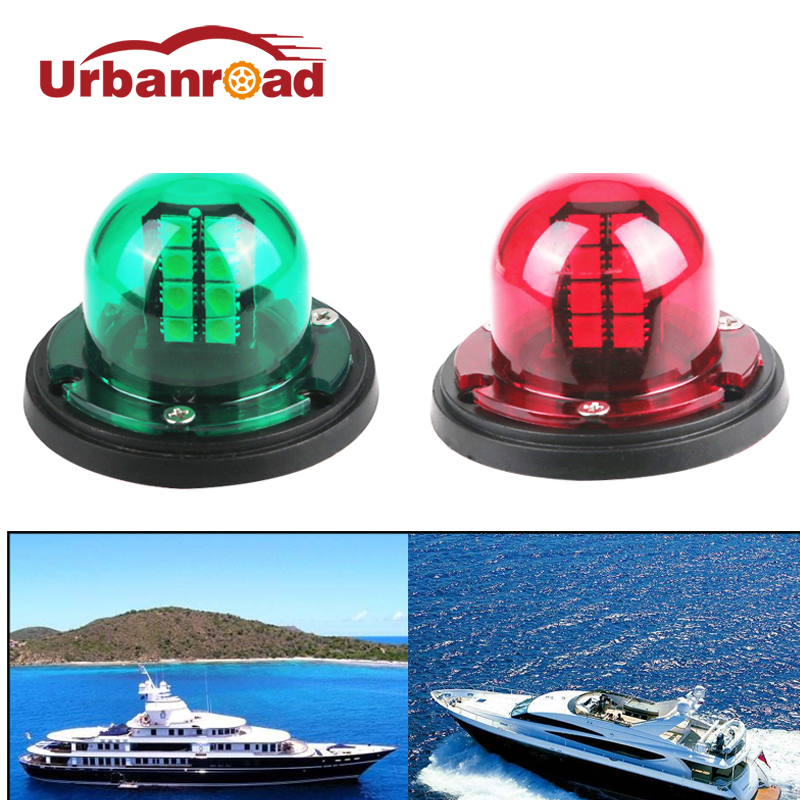 Urbanroad 1Pair Led Boat Navigation Lights Marine Boat Yacht Light 12v Led Stainless Steel 12v Led Bow Navigation Sailing Signal
