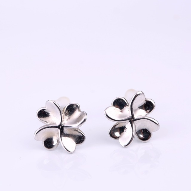 Robira 100 925 Sterling Silver Pee Plain Hearts Clover Stud Earrings For Women Small