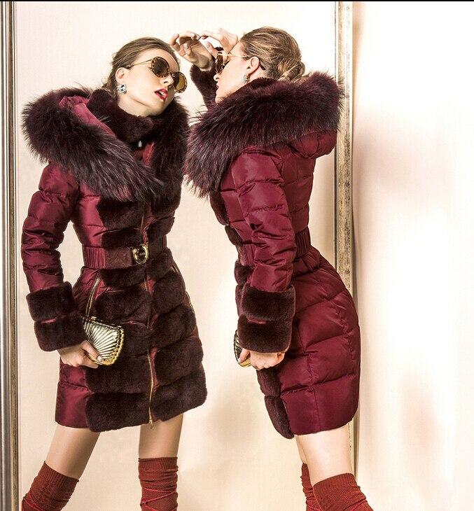 Luxury Brand 2016 Winter Jacket Women Down Jackets Womens Down parka rabbit fur Raccoon Hooded Downs Down coat Outwear Overcoat