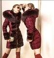 Marca de luxo 2016 Mulheres Jaqueta de Inverno Para Baixo Jaquetas Baixos das Mulheres Para Baixo parka de pele de coelho Guaxinim Com Capuz Para Baixo casaco Outwear sobretudo