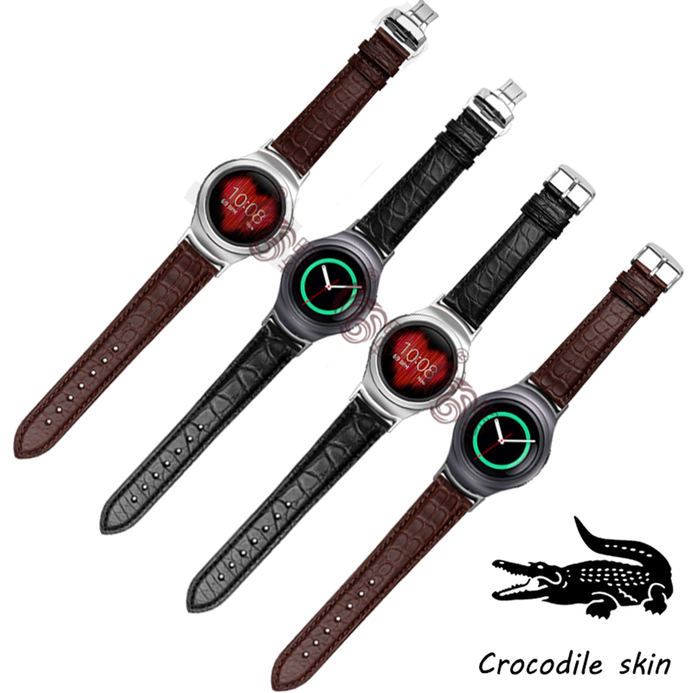 Quality Crocodile skin watch band 20mm For Samsung Gear S2 R720 Smart Watch Strap With Adapter Free ToolQuality Crocodile skin watch band 20mm For Samsung Gear S2 R720 Smart Watch Strap With Adapter Free Tool
