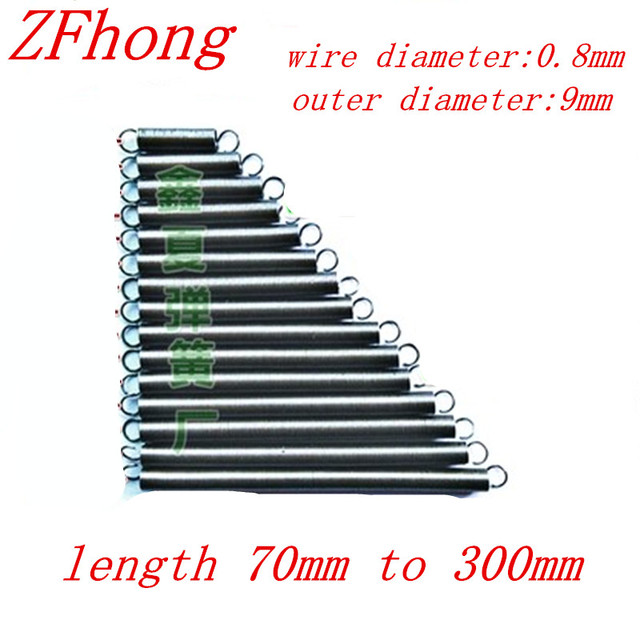 5pcs 08mm wire diameter thickness 9mm outer diameter extension 5pcs 08mm wire diameter thickness 9mm outer diameter extension tension spring 70mm 200mm length greentooth Choice Image