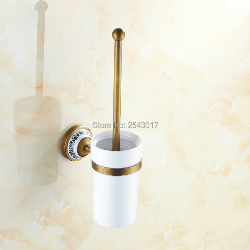 Us 16 8 44 Off New Arrivals Antique Bronze Toilet Brush Holder Wall Mounted Bathroom Accessories Ceramic Cup With Porcelain Zr2402 In