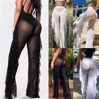Summer Women Beach Mesh Sheer Wide Leg Pants Ladies Bikini Cover Up Flared Trousers