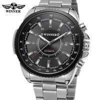 Luxury Silver Business Skeleton Automatic Gentlemen Wristwatch WINNER Male Analog Military Mechanical Watch Dress men Watches