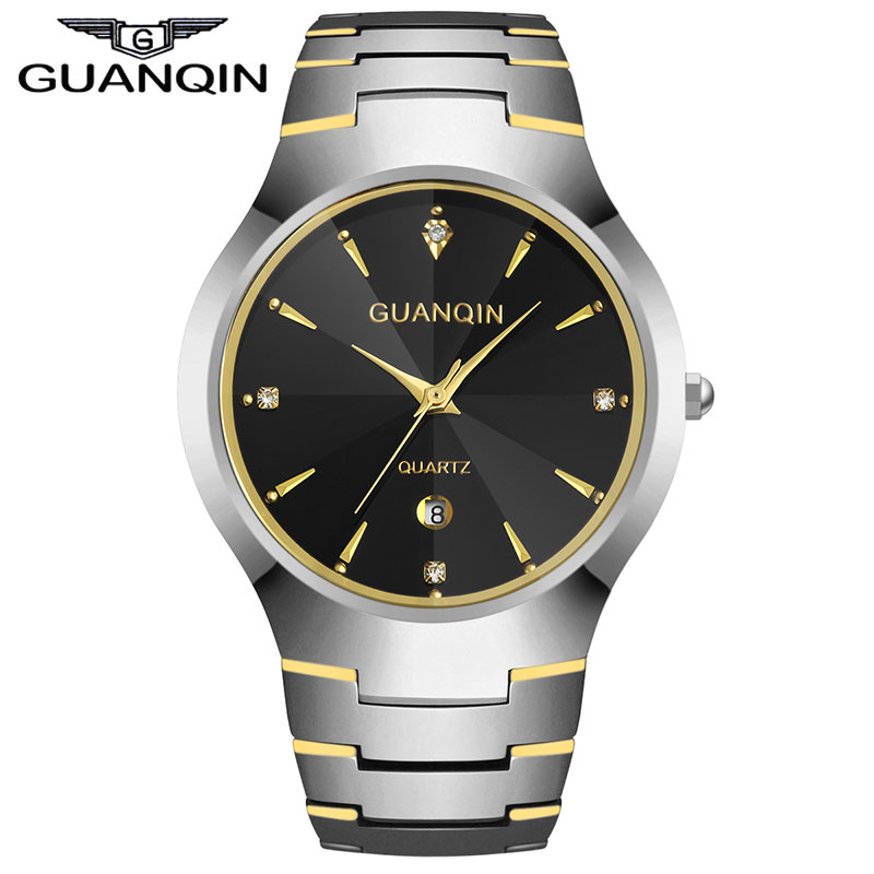 ФОТО GUANQIN GQ30018 calendar Luxury Brand Men's Watch Tungsten Steel Quartz Watches Fashion Silver Rose Gold Watches
