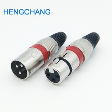 10 шт., Красный 3 Контактный аудиоразъем XLR для микрофона, штекер XLR для мужчин и женщин