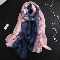 LaMaxPa 2019 Neue Mode Frauen Cut Blumen Hohl Spitze Gradienten Silk Schal Frühling Schals und Wraps Handtuch Femme Strand Sjaals