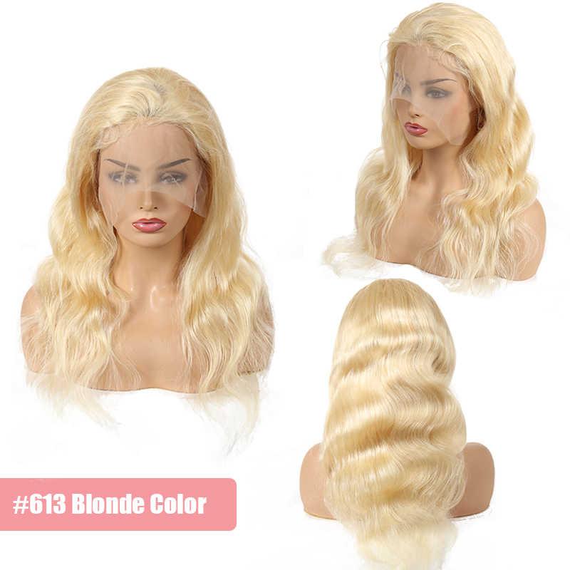 Peluca de encaje 150% para mujeres negras virgen brasileña onda del cuerpo pelo de bebé humano sin procesar Color Natural Pre-desplumado /613 rubia