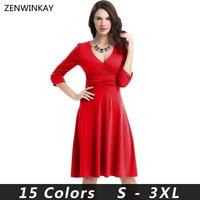 2016 Long Sleeve Women Dress High Waist Income A Line Tunic Female Spring Solid Kleider Femme