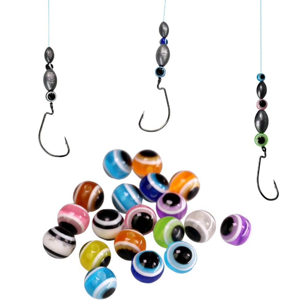 200 pcs/pack Fishing Beads For Texas Rig And Carolina Rig 6mm 8mm 10mm Fish Eye Fishing Beads Bass Fishing Tackle Accessories bead
