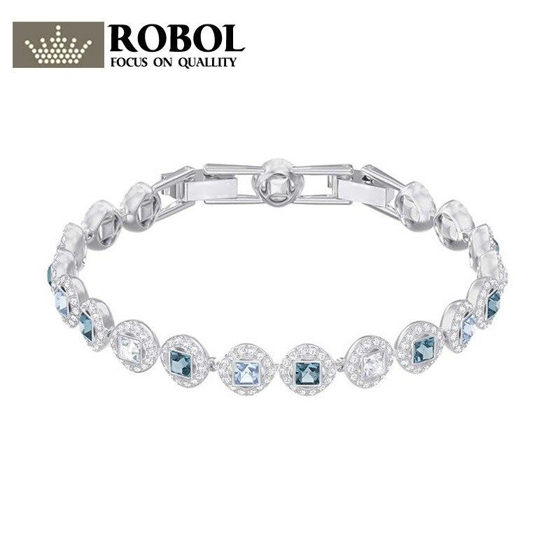 ROBOL Haute Qualité 2018 Dernière SWARO D'origine 1:1 ANGÉLIQUE CARRÉ Bracelet A Logo Femmes Bijoux Mail Gratuite