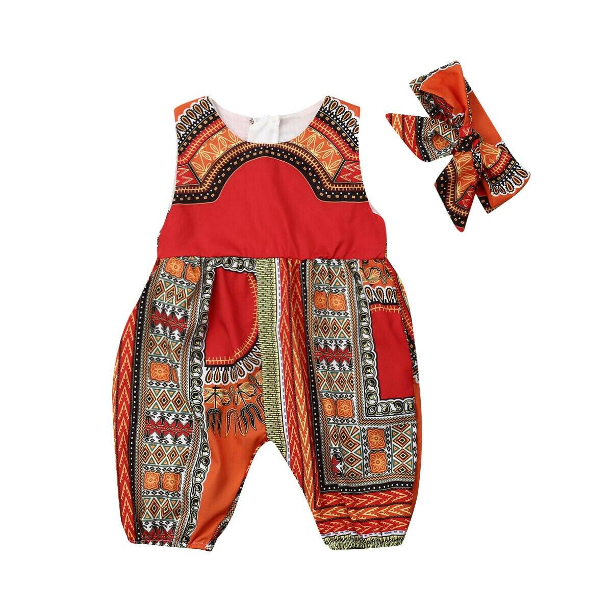 2019 Mode Afrikanischen Stil Infant Neugeborenes Baby Mädchen Kinder Overall Kleinkind Overall Outfit + Bogen Stirnband