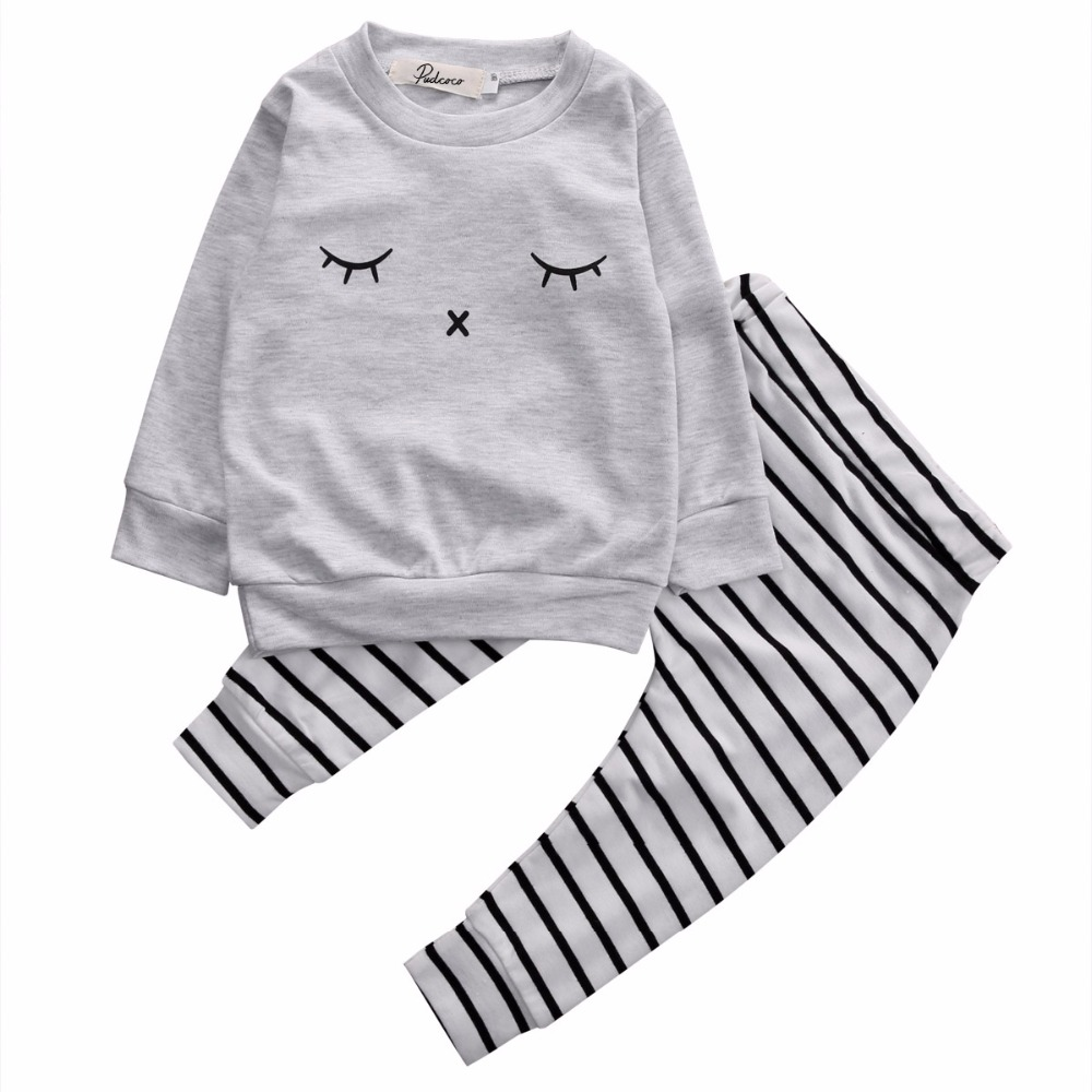 2pcs suit !!Newborn Infant Baby Long Sleeve Top+striped Pants autumn winter Set Boy Girl Outfit Clothes 2pcs set baby boy clothes set newborn baby cotton long sleeve star and letter rompers set infant girl one piece and pants set