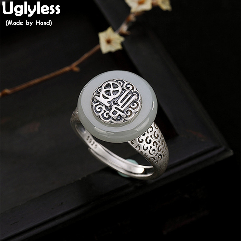 Uglyless 100% Real 925 Sterling Silver Natural Jade Finger Rings For Women Ethnic Thai Silver FU Open Ring Handmade Fine Jewelry