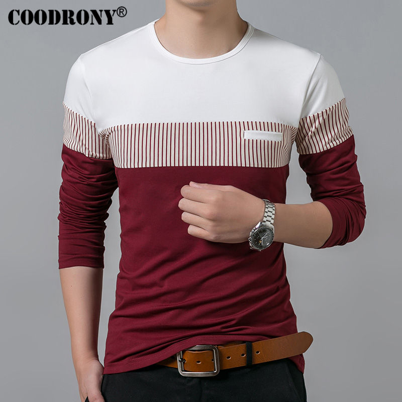 COODRONY T-Shirt Men 2019 Spring Autumn New Long Sleeve O-Neck T Shirt Men Brand Clothing Fashion Patchwork Cotton Tee Tops 7622 2