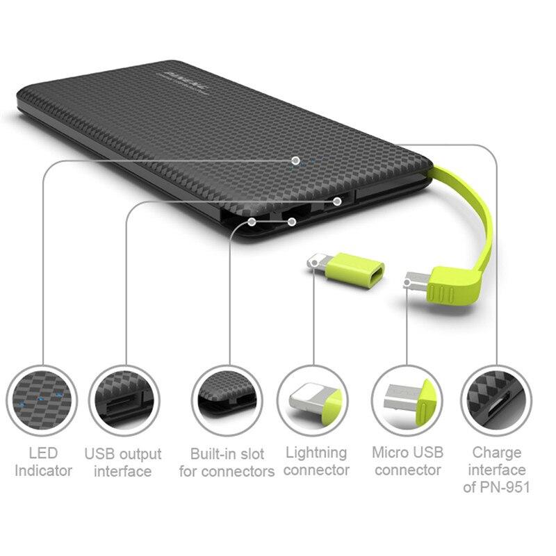 Цена за Оригинал Pineng 10000 мАч Мощность банка для iPhone 2USB порт встроенный кабель для зарядки внешних Батарея Зарядное устройство для OnePlus 5 Xiaomi