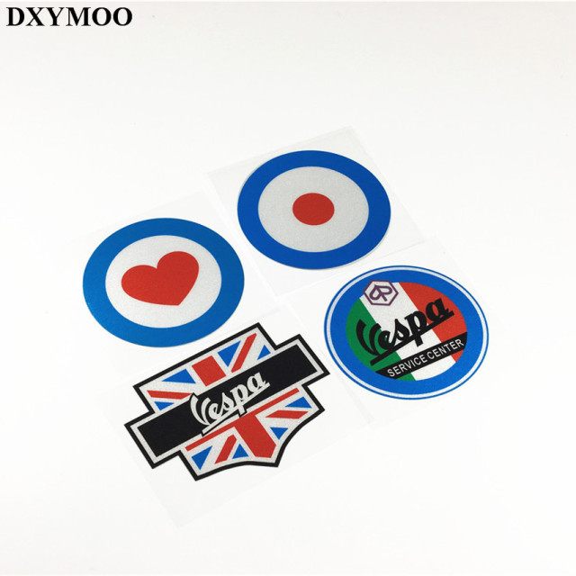 4pcs car styling car sticker decals reflective for piaggio vespa club uk flag