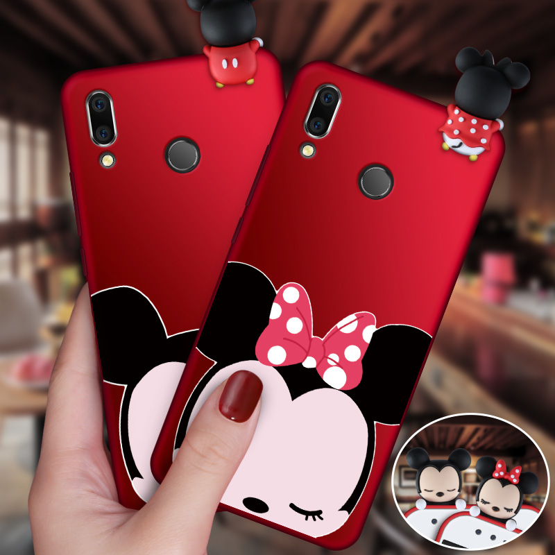 Minnie Ears Rhinestone and Glitter Case for Huawei P Smart 2019 Red