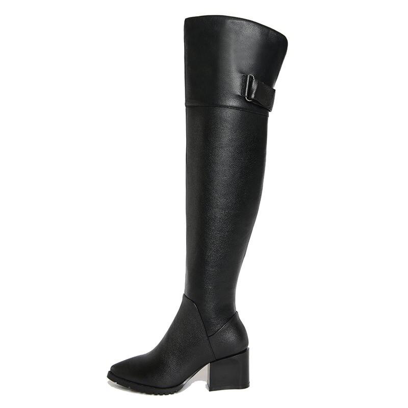 Sur Asumer Haute En Black Épais Mode Automne Femmes Boucle Cuir Talons Genou Bottes Le Solide De Qualité Véritable Nouveau 2018 t4qASx4r