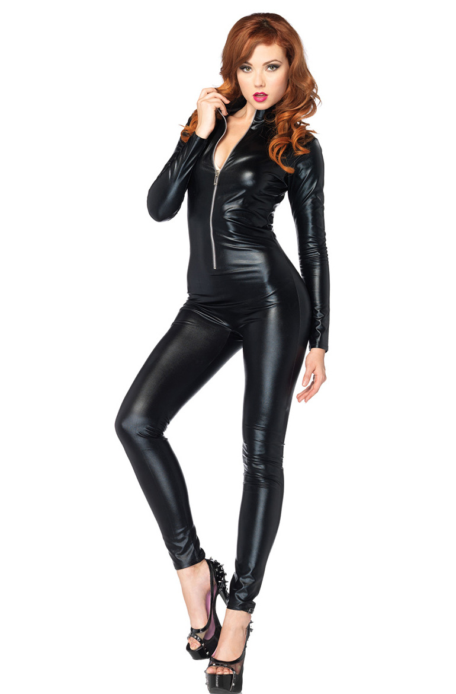 614d2359241 New Arrival Women Cat Suit Fancy Dress Shiny Super Hero Black Animal Leather  Cat Womens Costume