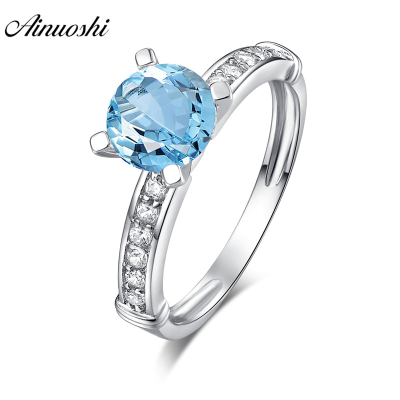AINUOSHI Natural Blue Topaz Ring Engagement Wedding Ring Inlaid Drills 1.25ct Round Cut 925 Sterling Silver Jewelry Women RingAINUOSHI Natural Blue Topaz Ring Engagement Wedding Ring Inlaid Drills 1.25ct Round Cut 925 Sterling Silver Jewelry Women Ring