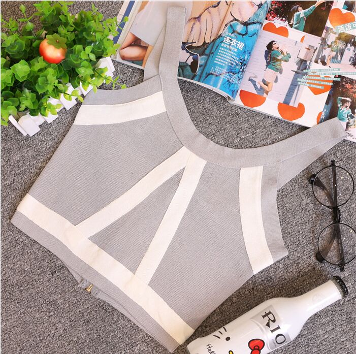 Zomer Dames Mode Slanke Knitting Tank Crop Tops Dames Bodycon - Dameskleding - Foto 4