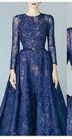 Новое поступление Nevy синий Кафтан Дубай кружевное вечернее платье 2019 с длинным рукавом cексуальные Вечерние платья Вечернее платье для мус