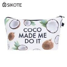 SIKOTE Coconut Made Me Do It 3D Printing Women Cosmetic Bag SmallWristlet Makeup Bag Mujer De Marca Famosa Toiletry Organizer