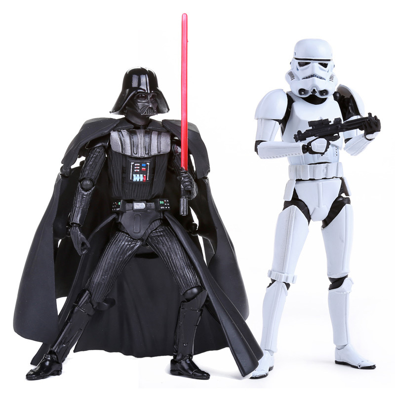 Star Wars Revoltech Darth Vader 001 Stormtrooper 002 PVC Action Figures Collectible Model Toys SWFG049 saintgi star wars darth maul play arts original darth vader espada bb8 figures toys revoltech pvc collectible model 26cm