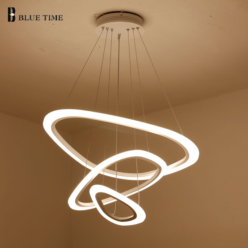 4/3/2 anneaux Moderne Led Suspension Pour salle à manger salon Cuisine Hanglamp Blanc Acrylique LED pendentif Lampe AC110V 220 v