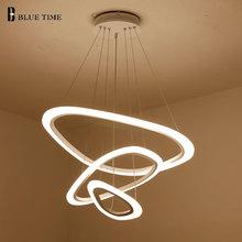 цены Fashion Circles Modern Led Pendant Light For Dining room Living room Kitchen Hanging lamp Acrylic LED Pendant Lamp Led Lustres