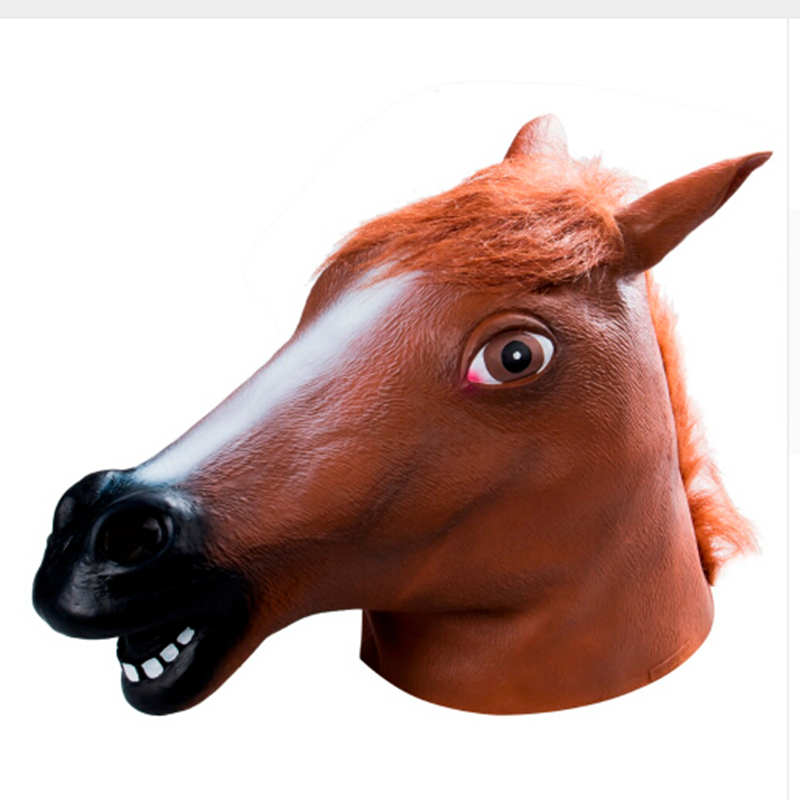 Hot Selling Brown/white/black Horse Head Novelty Latex Rubber Horse Mask Funny Animal Mask Halloween Costume Gangnam Style Drop