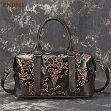 PNDME fashion vintage designer genuine leather ladies handbag handmade embossed daily cowhide womens  shoulder messenger bags